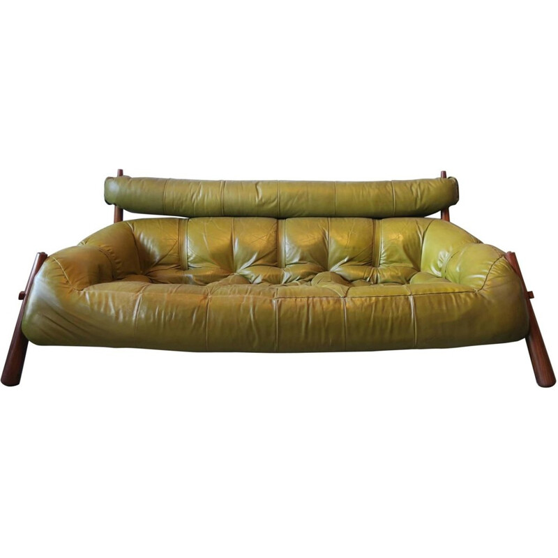 Brazilian 3-Seater Rosewood & Leather Sofa, Percival Lafer - 1974