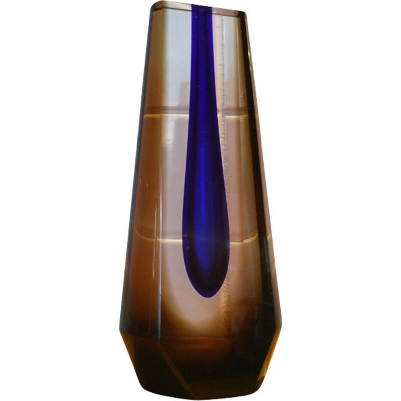 Vintage vase made of glass by Pavel Hlava - 1970s