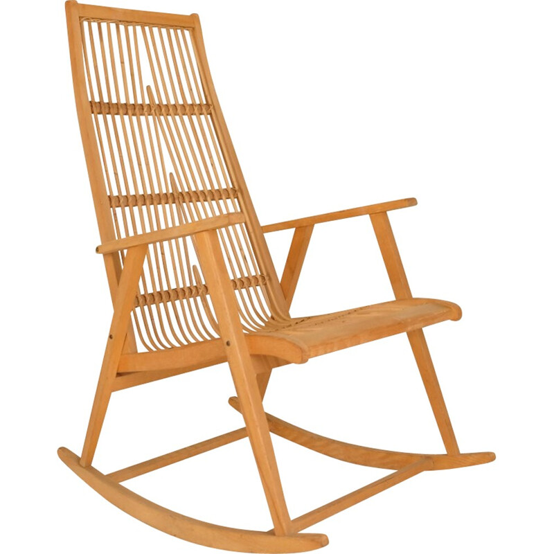 Vintage Rocking Chair in rattan and wood - 1960s