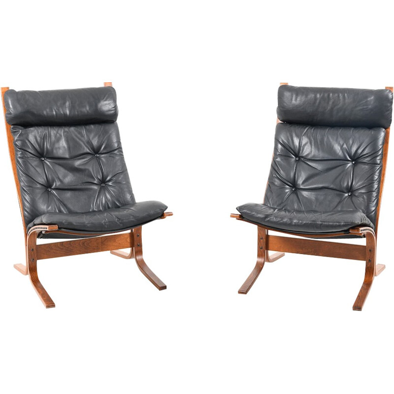 Vintage pair of high back lounge chairs by Ingmar Relling for Westnofa - 1970s