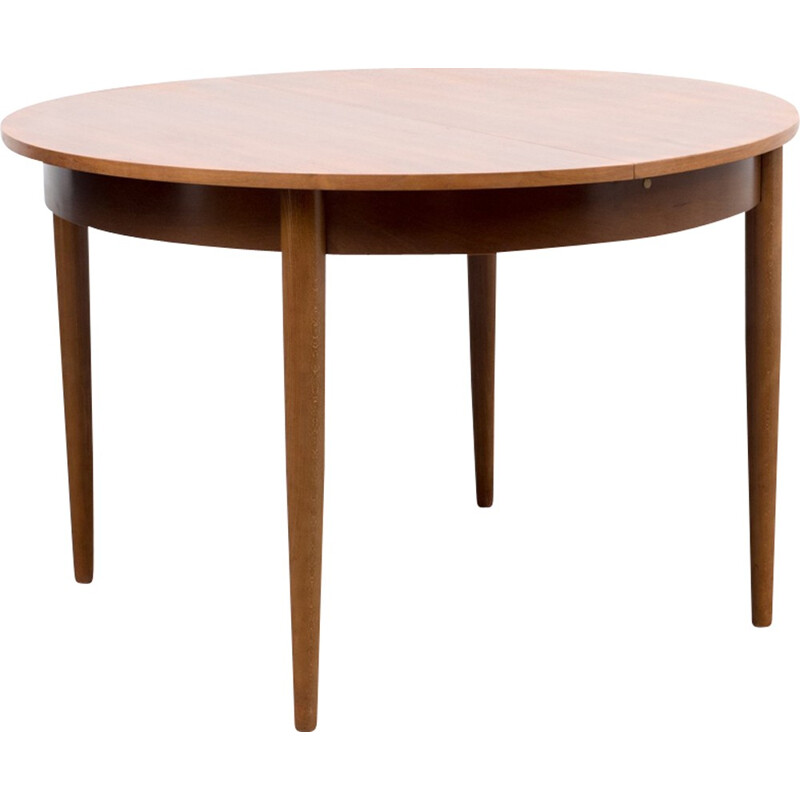 Vintage round dining table in walnut - 1960s