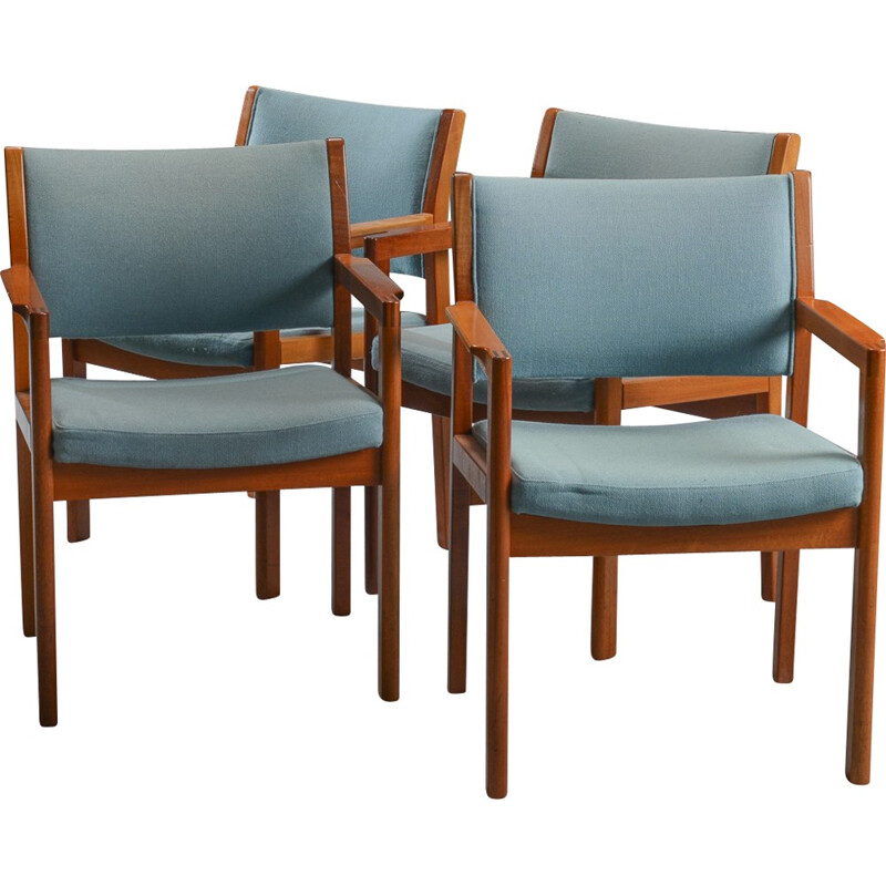 Set of 4 Armchairs in Mahogany by Christian Hvidt for Soborg Mobelfabrik - 1970s