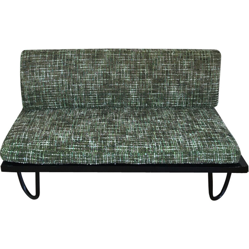 Vintage French bench in tweed - 1960s