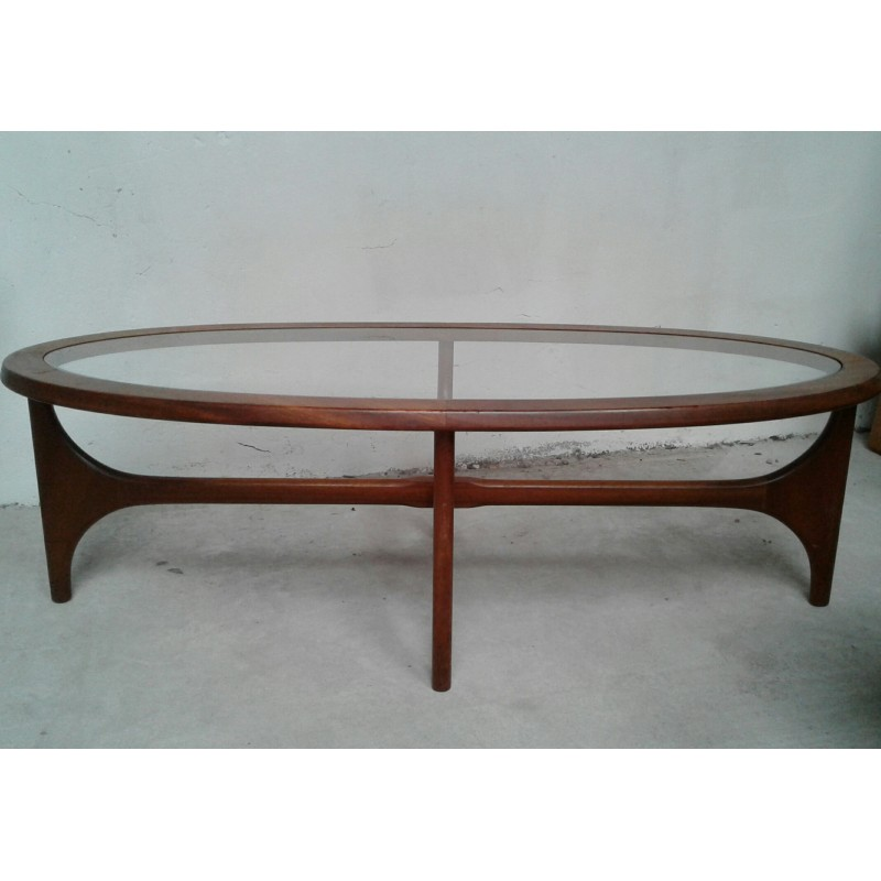 Oval Coffee Table In Teak With Glass Top By Stateroom For Stonehill