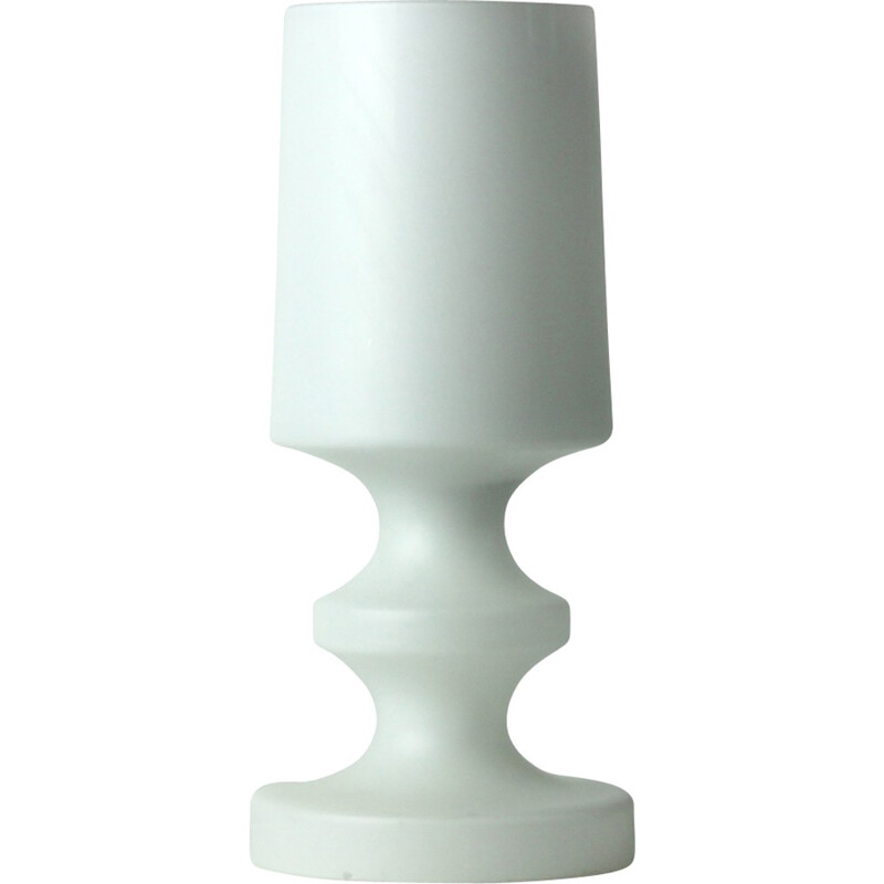 Vintage White Glass Table Lamp By Ivan Jakes - 1970s