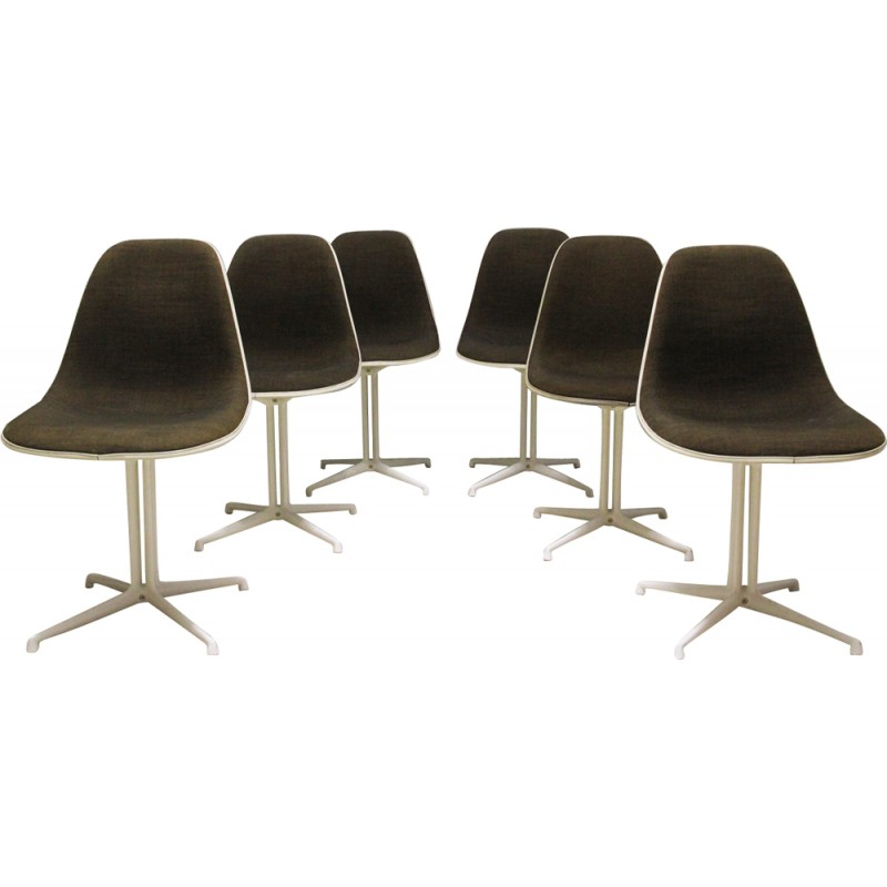 "Vintage set of 6 ""La Fonda"" dining chairs in Fiber glass by Charles & Ray Eames for Herman Miller - 1960s"