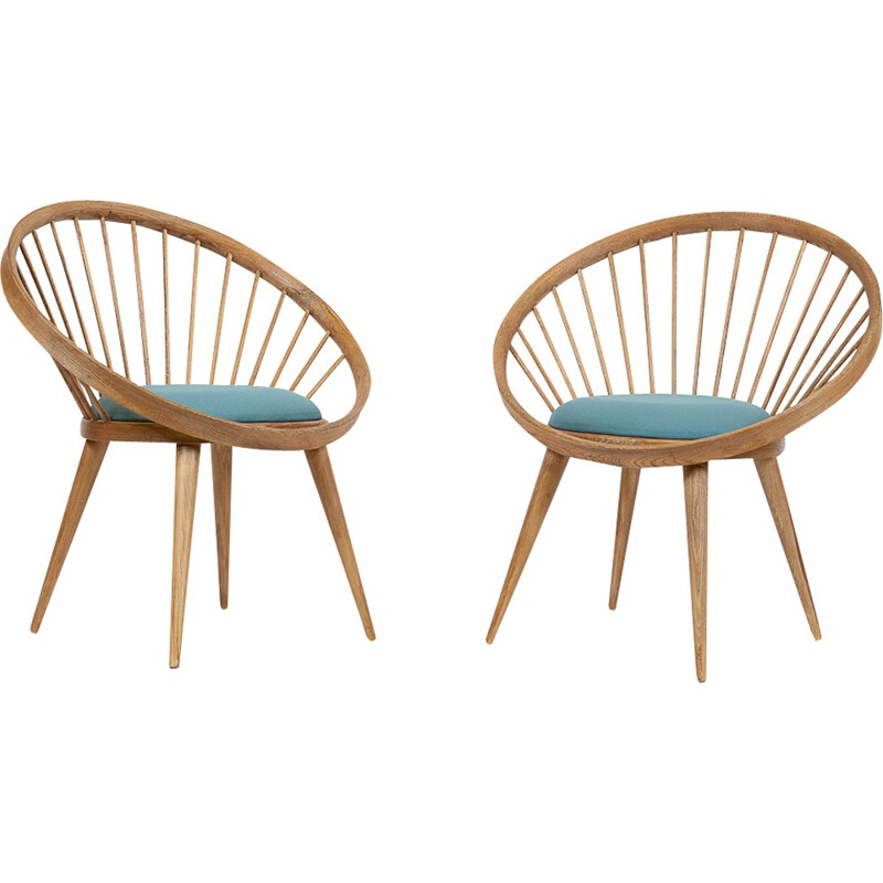 Set of 2 vintage swedish armchairs by Yngve Ekstrom - 1950s