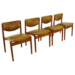Set of 4 chairs in teak and leather, Finn JUHL - 1960s