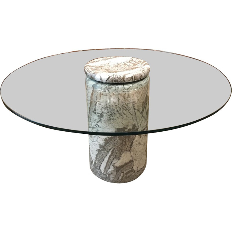 "Vintage ""Castore"" large italian marble table by Angelo Mangiarotti - 1970s"