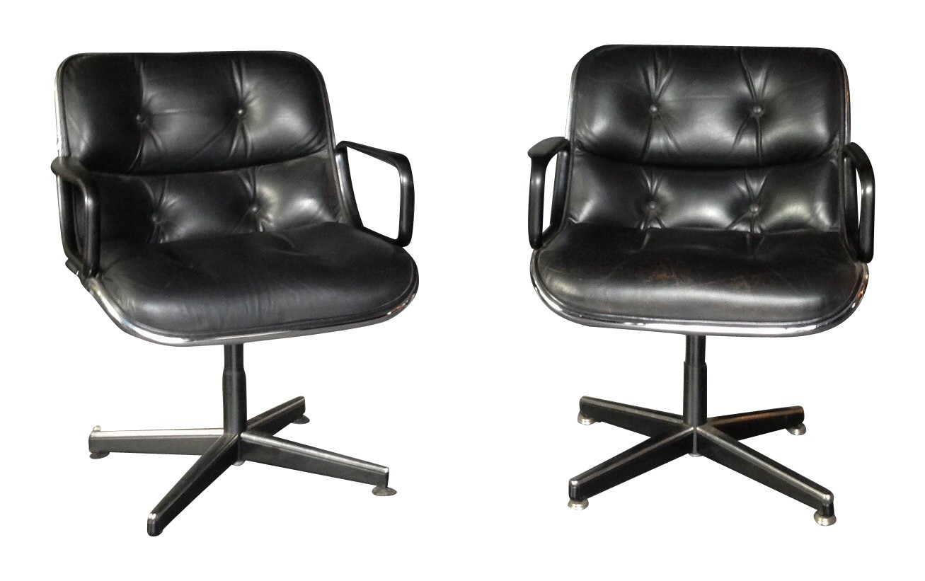Desk chair in leather Charles POLLOCK 1960s Design Market