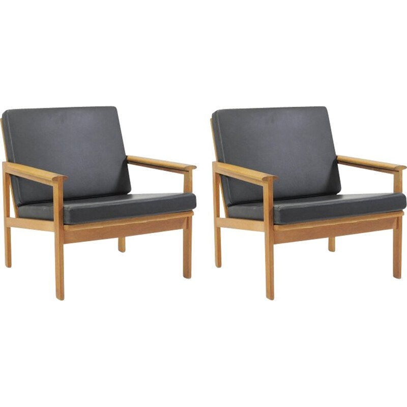 "Vintage set of 2 ""Capella"" lounge chairs in oak by Illum Wikkelsø for N. Eilersen - 1960s"