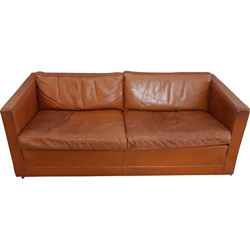 Cognac leather sofa for Artifort by Pierre Paulin - 1960s