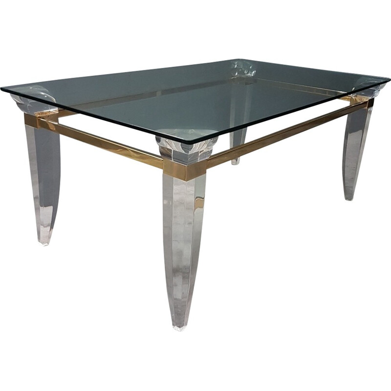 Vintage Lucite brass glass French coffee table - 1980s