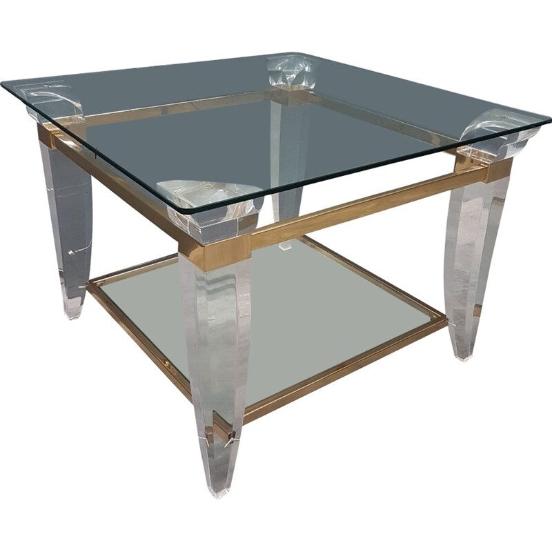 Vintage French square coffee table gold plated and glass - 1980s