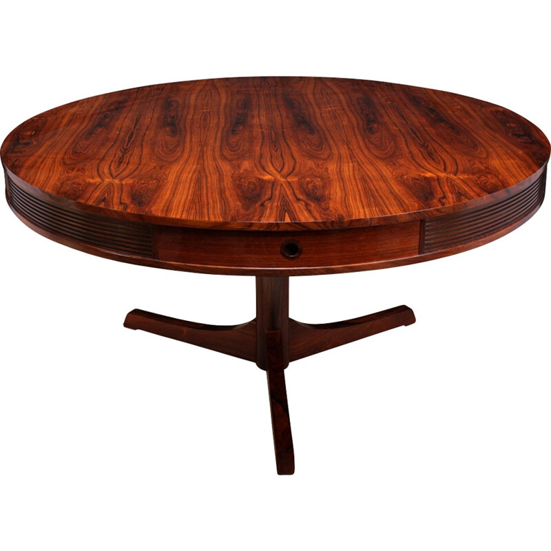 Vintage Rosewood Drum Table by Robert Heritage for Archie shine - 1950s