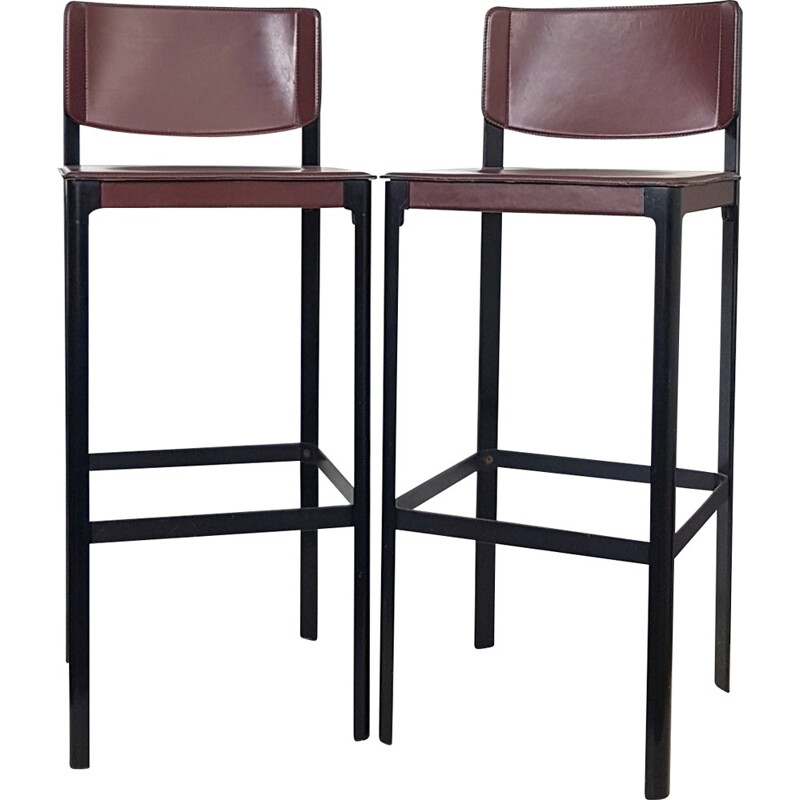 Set of 2 leather bar stools by Matteo Grassi - 1970s