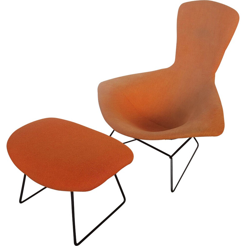 """Vintage Armchair """"Bird"""" with his footrest by Harry Bertoia - 1950s"""