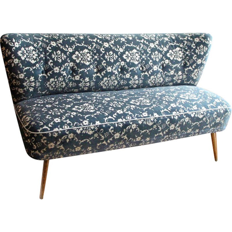 Vintage german cocktail bench with blue patterns - 1950s