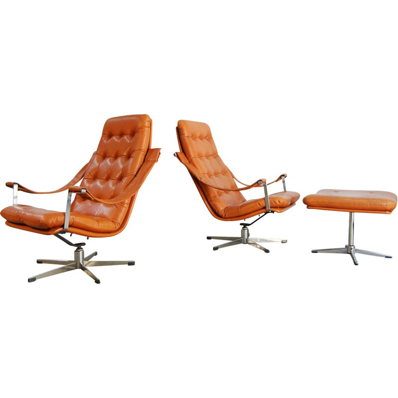 Set of 2 lounge Chairs & Ottoman by Geoffrey Harcourt for Artifort - 1960s
