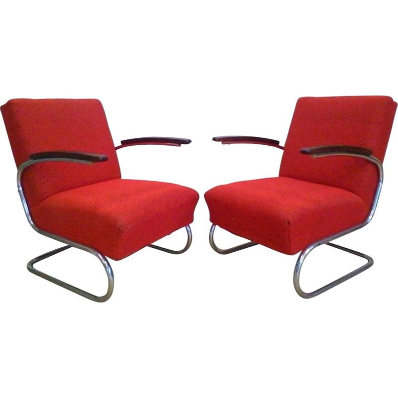 Vintage pair of chromed Bauhaus armchairs by Műcke & Meider for Thonet - 1930s