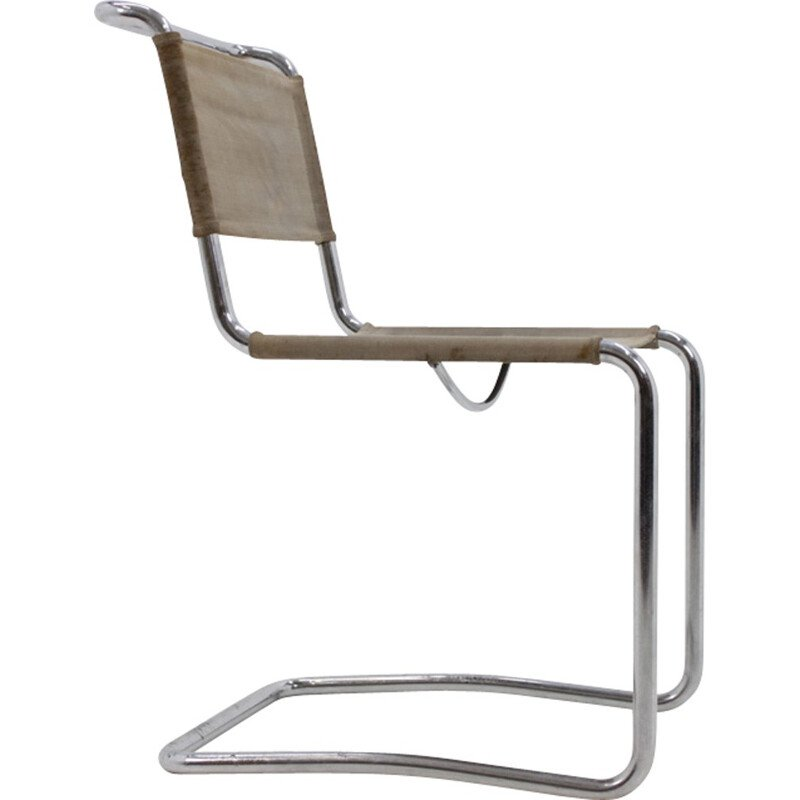 Vintage chromed Bauhaus chair by J. Halabala for UP Závody - 1930s