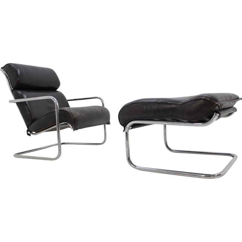 Vintage set of leather lounge chair and footstool - 1950s