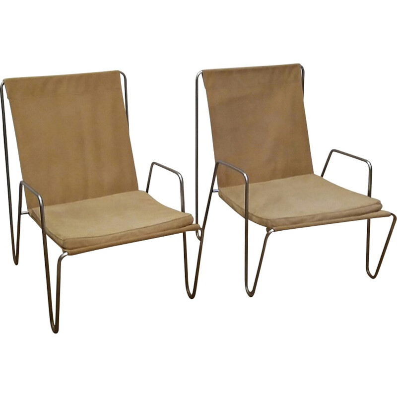 Set of 2 Vintage Bachelor Lounge Chairs by Verner Panton for Fritz Hansen - 1950s