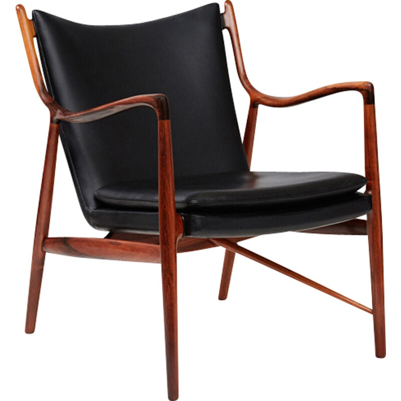 Vintage FJ-45 armchair in rosewood and leather by Finn Juhl - 1960s