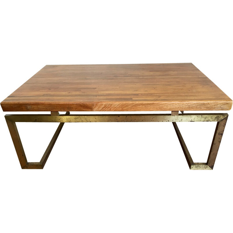 Vintage rectangular laminated wood coffee table by Maison Jansen - 1970s