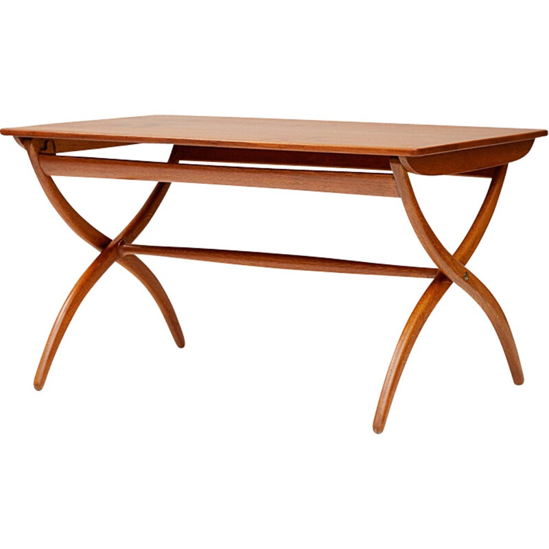Teak & Oak Cross Leg Table by Ole Wanscher - 1950s