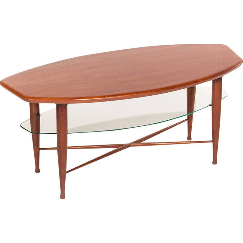 Vintage Danish teak coffee table with glass magazine tray - 1960s