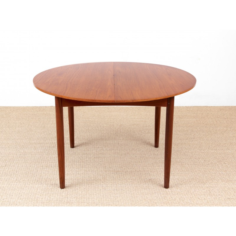 Scandinavian Round Teak Dining Table With 2 Extensions 410 People Vintage Designer Furniture