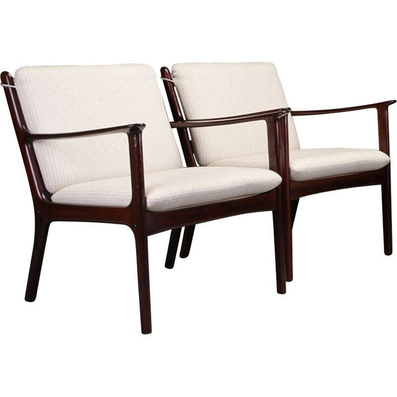 "Set of 2 ""PJ112"" Lounge Chairs in Mahogany by Ole Wanscher - 1950s"
