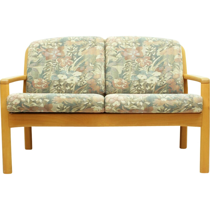 Vintage Danish beechwood and fabric sofa by Dyrlund - 1980s