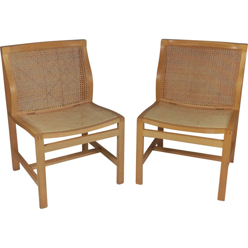 "Vintage set of 2 ""7511"" King series birch chairs by Fredericia Furniture - 1960s"