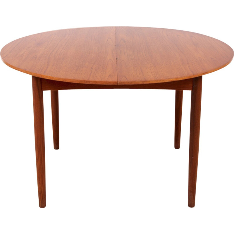 Scandinavian round teak dining table with 2 extensions 410 people