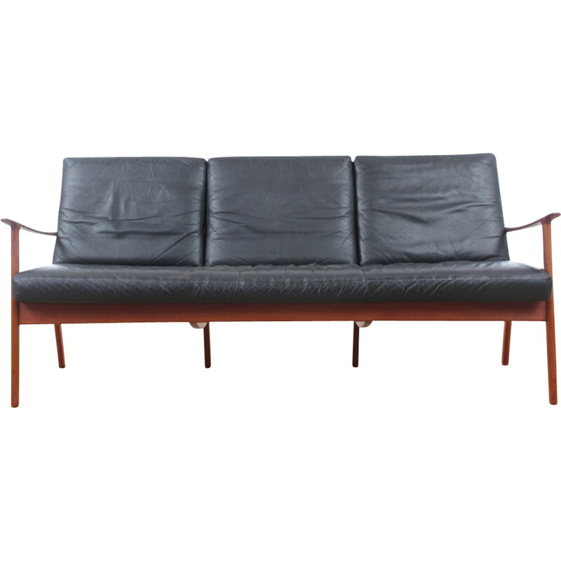 Scandinavian bench 3 seats model PJ112 in teak and leather - 1950s