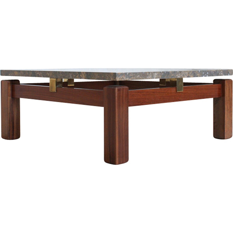 Vintage Portuguese Coffee Table in marble and wood - 1970s