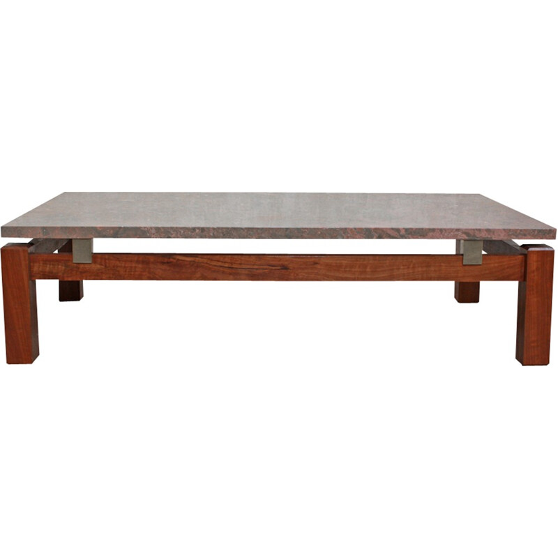 Vintage Rectangular Portuguese Coffee Table - 1970s