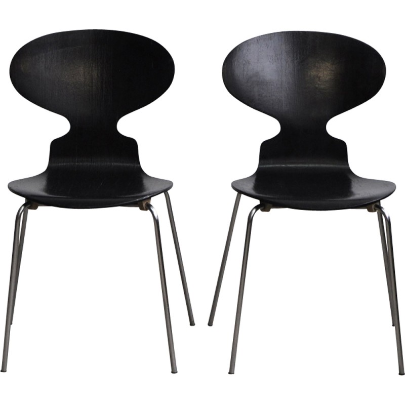 "Vintage set of 2 ""3100"" Ant chairs by Arne Jacobsen for Fitz Hansen - 1960s"