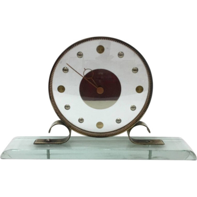 Vintage table clock by Verde Nilo for Latos Per Venini - 1950s