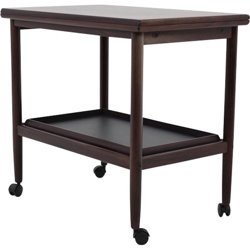 Vintage expandable mahogany serving cart by Borge Mogensen for Fredericia, Denmark - 1960s