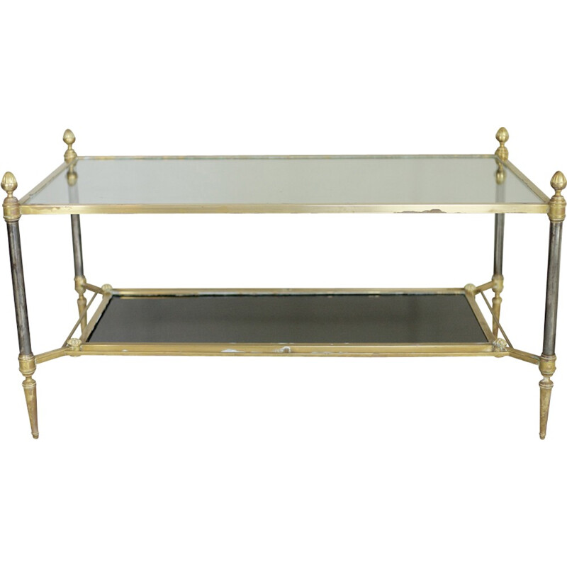 Vintage bronze, steel and glass coffee table by La Maison Jansen, France - 1960s