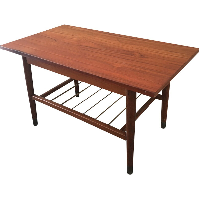 Vintage teak coffee table with shelf brass rods - 1960s