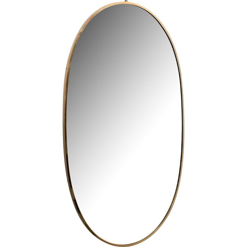 Vintage large oval mirror in brass - 1950s