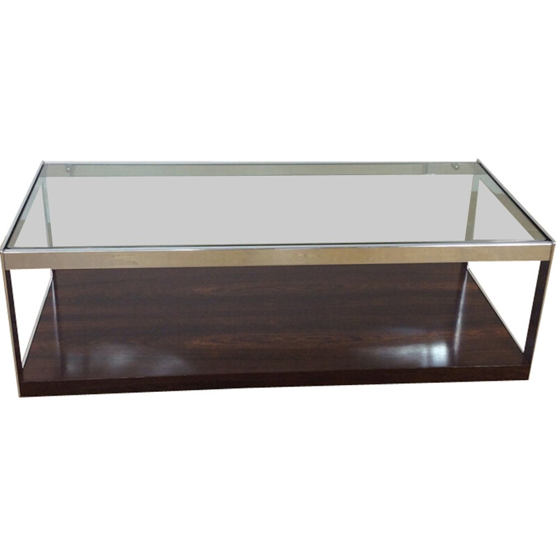 Vintage rosewood and glass long coffee table on castors - 1970s