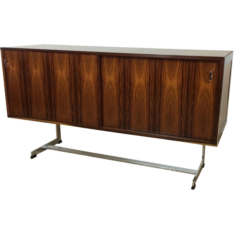 Vintage rosewood and chrome sideboard for Merrow Associates - 1970s