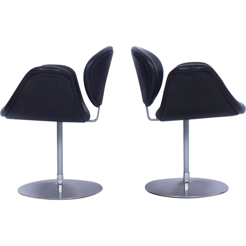 Set of 2 black leather Tulip chairs by Pierre Paulin for Artifort - 1960s