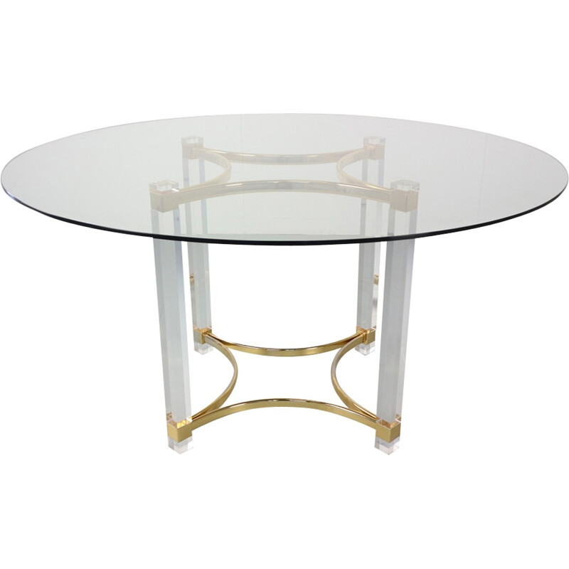 Vintage Brass and Glass Dining Table by Alessandro Albrizzi - 1970s