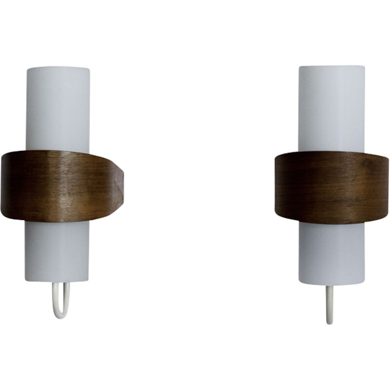 Set of 2 white vintage wall sconces by Louis Kalff - 1950s